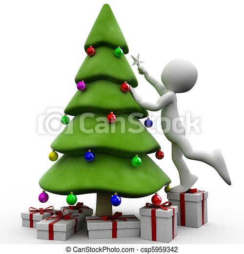 rbol navidad humano 3d Estrella rbol humano puesto tratar