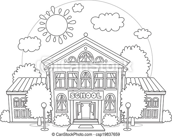 Top Clipart Vecteur de école - bâtiment, école, entouré, primaire  HW52