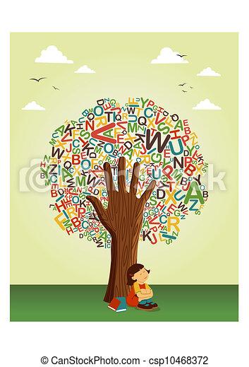 Bien connu Vecteurs illustration de école, lire, arbre, main, apprendre  NC07