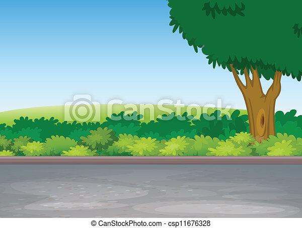 à côté de, arbre, route - csp11676328