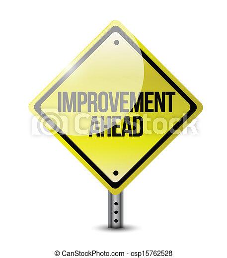à frente, melhoria, estrada, ilustração, sinal - csp15762528