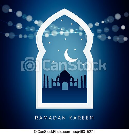 Silhouette Card Moon Ramadan Fentre Mosque Arabe Vecteur