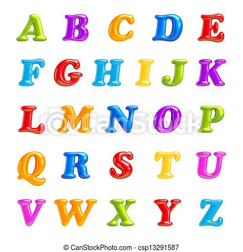 ábécé, abc, elszigetelt, letters., creative., collection., betűtípus, 3 - csp13291587