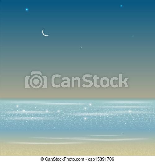 ábra, tenger, táj, éjszaka - csp15391706