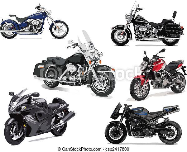 ábra, vektor, hat, motorkerékpár - csp2417800