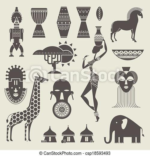 áfrica, ícones - csp18593493
