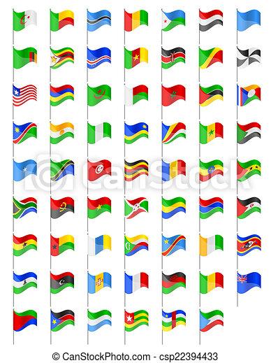 África bandeiras ilustração países países áfrica isolado