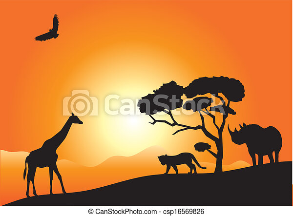 áfrica Vector Africano Paisaje Con Animales Canstock