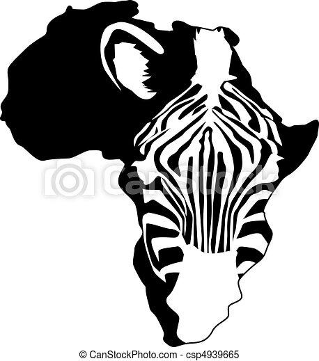 áfrica, silueta, zebra - csp4939665