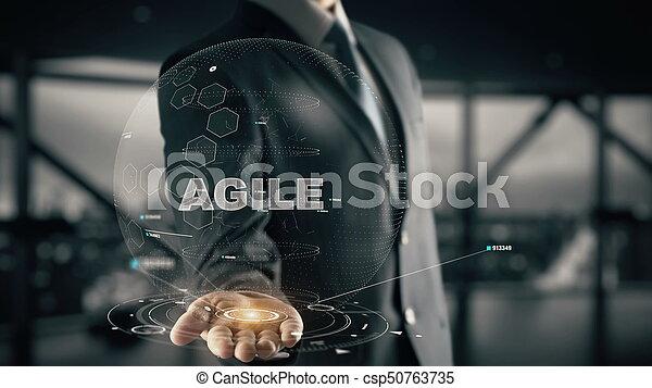 ágil, conceito, hologram, homem negócios - csp50763735