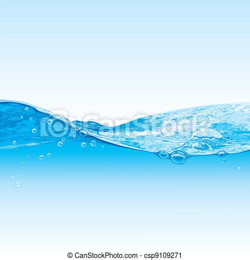 água, bolhas, fundo, onda - csp9109271