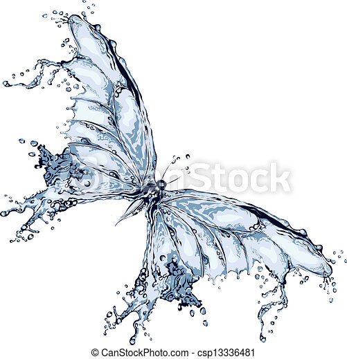água, borboleta, respingo - csp13336481