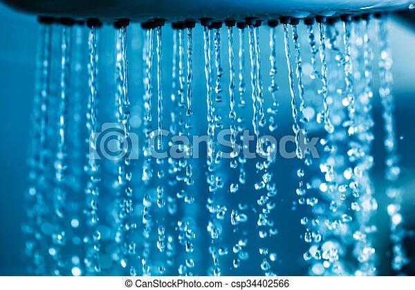 água, claro, shower., fluir - csp34402566