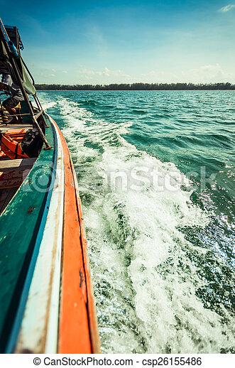 água, espuma, closeup, lado, bote - csp26155486