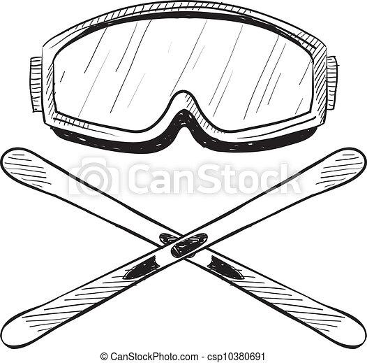 água esquiando, equipamento, esboço - csp10380691