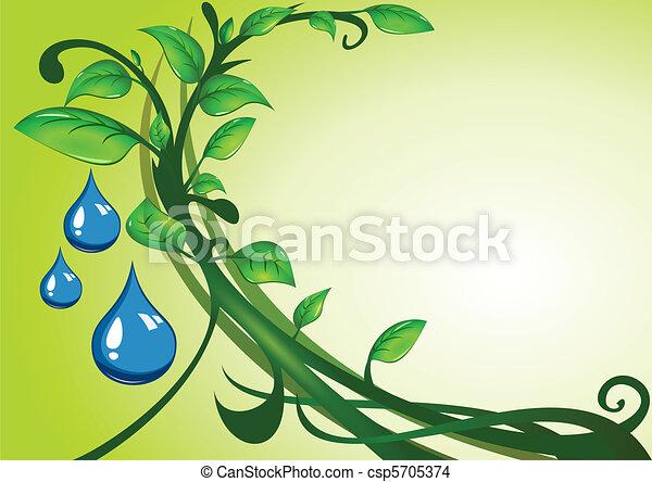 água, folhas, gotas, verde - csp5705374