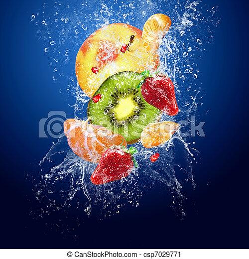 água, frutas, experiência azul, ao redor, gotas - csp7029771
