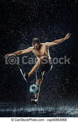 água, jogador, gotas, ao redor, futebol - csp40854968