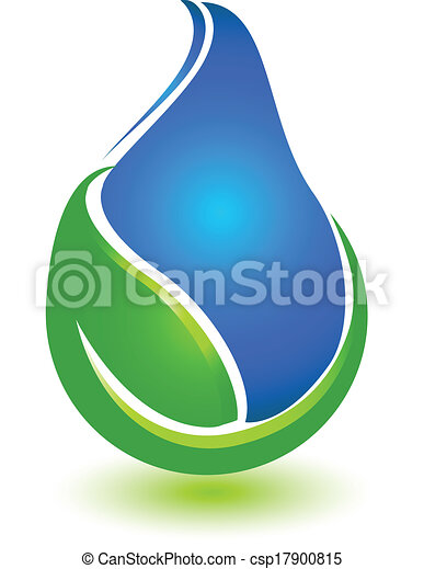 água, logotipo, gota, folha - csp17900815