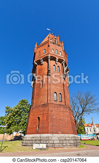 água, polônia, (1905), torre, malbork - csp20147064