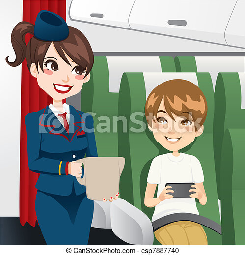 água, servindo, stewardess - csp7887740