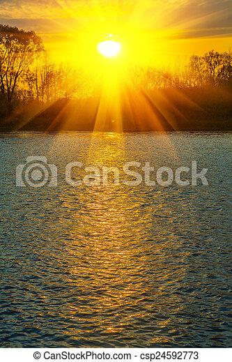 água, stile, rio, pôr do sol, instagram - csp24592773