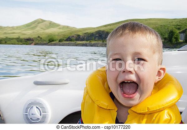 água, viagem, crianças, bote - csp10177220