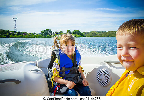 água, viagem, crianças, bote - csp21144786