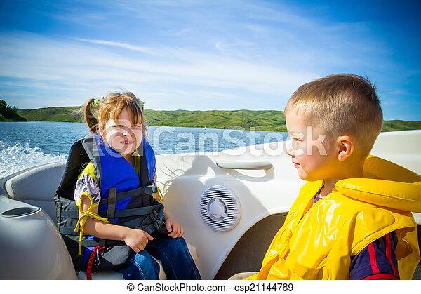 água, viagem, crianças, bote - csp21144789