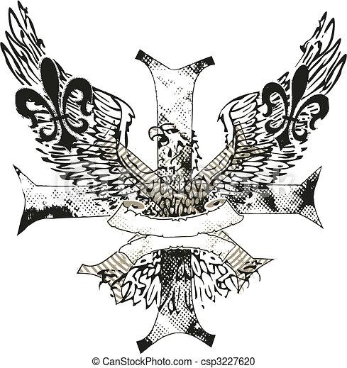 águia, emblema, de, crucifixos, fleur, lis - csp3227620