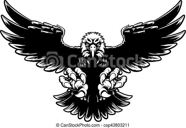 Águia feroz mascote cair águia garras calvo