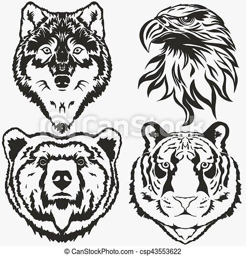 águia, jogo, urso, tiger, vetorial, lobo, logotipo - csp43553622