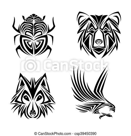 águia, tatuagem, urso, desenho, lobo, erro - csp39450390