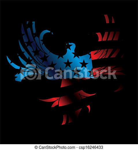 La bandera americana y el arte del vector de águila - csp16246433