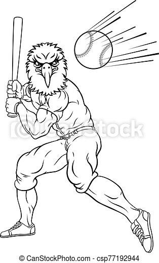 águila, bola del béisbol, mascota, balanceo, jugador, murciélago - csp77192944