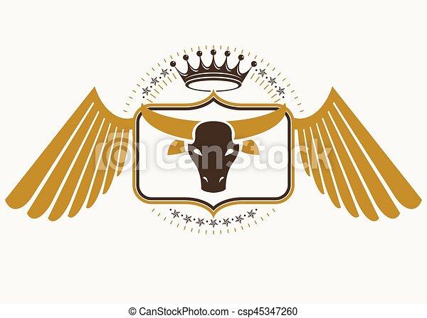 Diseño retro Vector decorado con alas de águila y hecho usando elementos antiguos como la real corona y la ilustración de la cabeza de toro - csp45347260