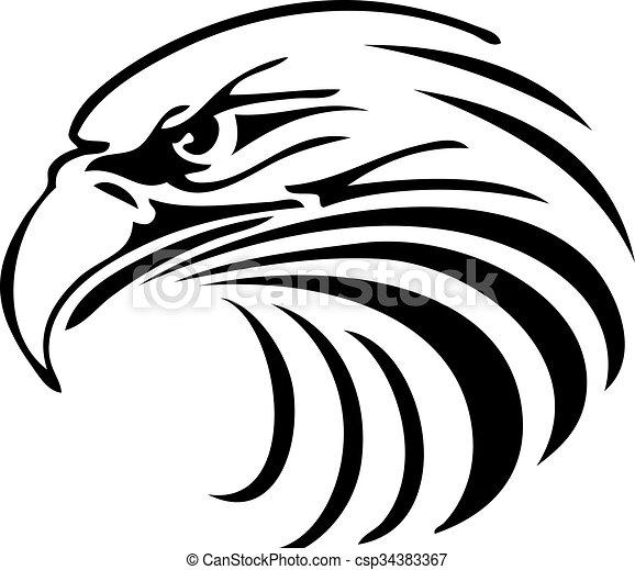 Águila, cabeza, silueta, resumen.