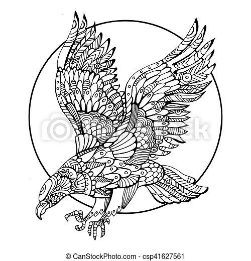 Águila, colorido, adultos, libro, vector, pájaro. Águila, colorido ...