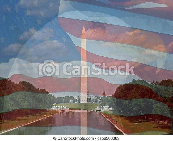 águila, compuesto, author., bandera, washington, tres, fotos, tomado, monument. - csp6500363