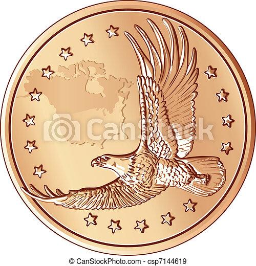 Vector Money, moneda con la imagen de un águila voladora - csp7144619