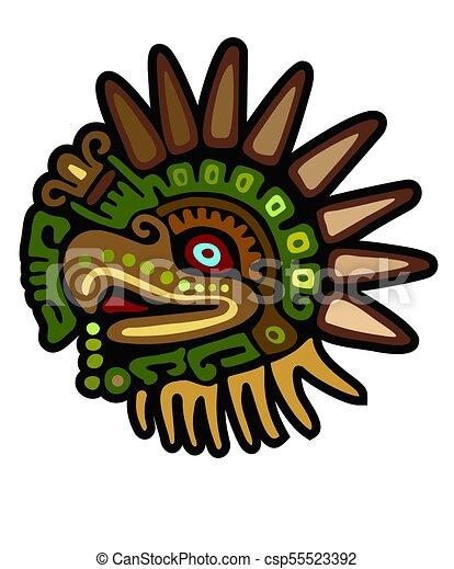 águila Maya Dios Glyph águila Lleno Glyph Color Maya