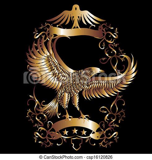águila, vector, arte, protector, oro - csp16120826