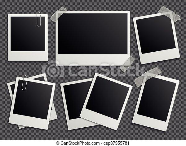 Álbum, conjunto, foto familia, polaroid, vector, retro, marcos ...