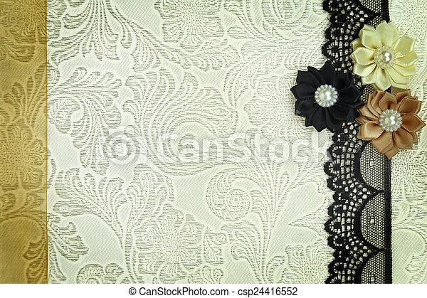 Fondo de tela decorativa. Scrapbook, concepto de álbum de fotos - csp24416552