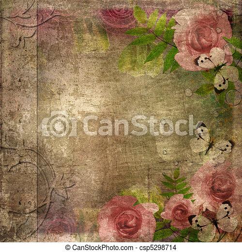 La portada del álbum de Vintage con rosas y espacio para el texto (1 de set) - csp5298714