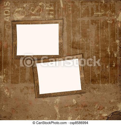Álbum, grunge, marco, cubierta, plano de fondo, periódico, cartera, o.