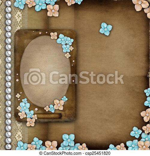 Álbum, marco, vendimia, encaje, cubierta, flores, perlas.