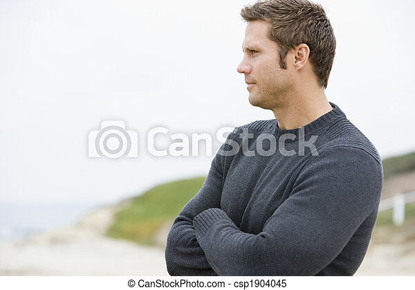 álló, tengerpart, ember - csp1904045