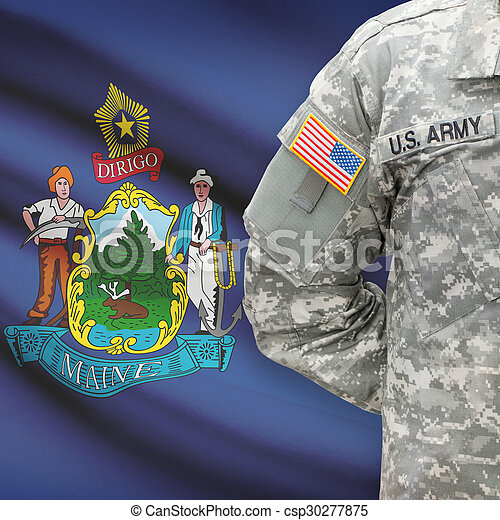 állam, -, amerikai, bennünket, katona, lobogó, háttér, maine - csp30277875