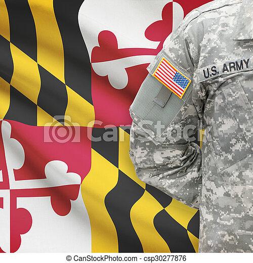 állam, -, amerikai, bennünket, katona, lobogó, háttér, maryland - csp30277876